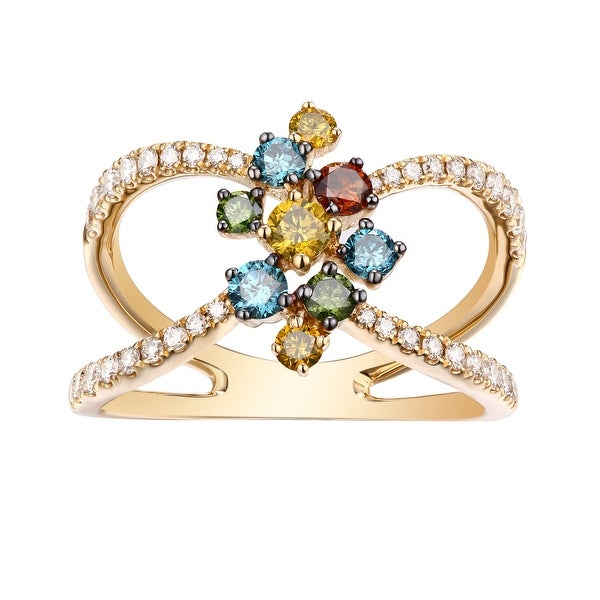 Beautuful 1.01 TCW Round Brilliant Cut G-H/SI1 Natural Diamond with Multi Color Diamond Stylist Ring - White G-H