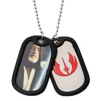 Obi-Wan Kenobi & Jedi Symbol Double Dog Tag Pendant Steel Star Wars Necklace