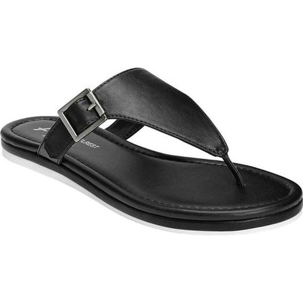 e35983a8e91a A2 by Aerosoles Women  x27 s Drop Down Thong Sandal Black Faux Leather