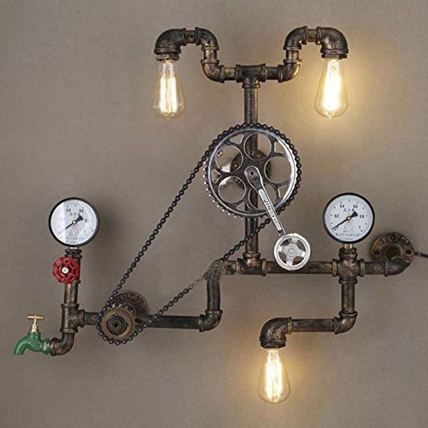 Vintage industrial farmhouse wall sconce, 3 light bronze pipe wall sconce,bicycle wall light fixture - Rust. Opens flyout.