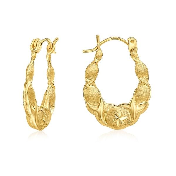 Mcs Jewelry Inc 10 KARAT YELLOW GOLD HOOP EARRINGS WITH DESIGN 22MM