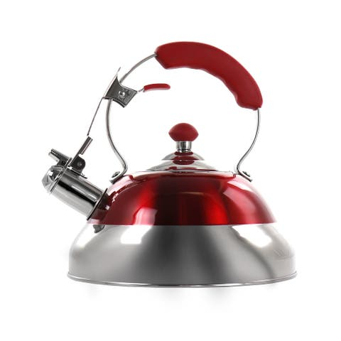 MegaChef 2.7 Liter Stovetop Whistling Kettle in Red