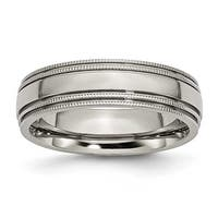 Chisel Grooved and Beaded Polished Titanium Ring (6.0 mm)