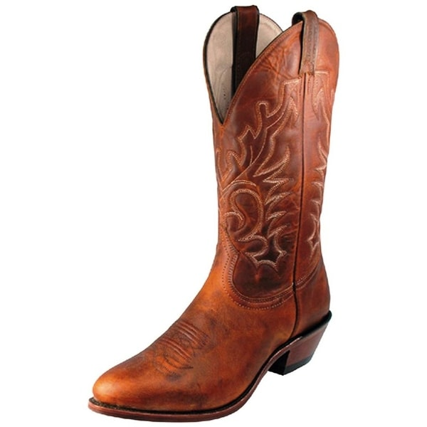 Boulet Western Boots Mens Cowboy Leather Laid Back Tan Spice
