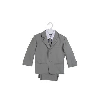 Paperio Boys Formal Suit Set with Long Tie, Shirt, and Vest Silver Gray Light - silver gray light
