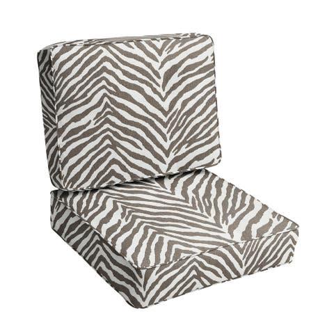 """Sunbrella Grey Zebra Indoor/Outdoor Deep Seating Cushion Set, Corded - 23.5"""" x 23"""" x 5"""""""