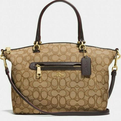 Coach Prairie Satchel Signature Jacquard 58875 Khaki/Brown Handbag