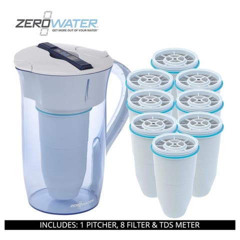 ZeroWater 10 Cup Round Pitcher, 9 Filter & TDS Meter, ZR-0810-4