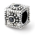 Sterling Silver Reflections Square CZ Bead (4mm Diameter Hole) - Thumbnail 0