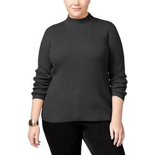 Karen Scott Womens Plus Mock Turtleneck Sweater Ribbed Knit Heathered