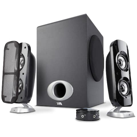 Cyber Acoustics CA-3810b Cyber Acoustics CA-3810 3 Piece Flat Panel Design Subwoofer and Satellite Speaker System (CA-3810)