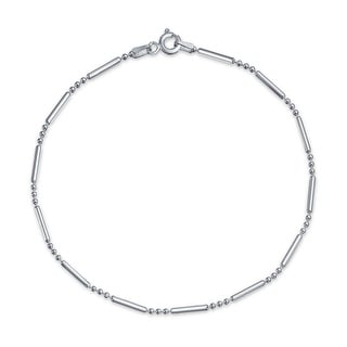 Bling Jewelry 925 Sterling Silver Bead Bar Ball Anklet Bracelet 9in Italy