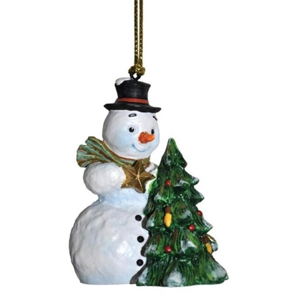 "3"" Snowfall Valley Finishing Touch Festive Snowman with Star Christmas Ornament - WHITE"