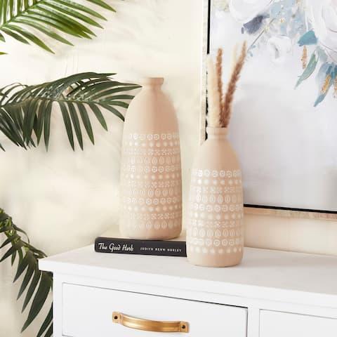 Stoneware Rustic Vases (Set of 2) - 6 x 6 x 15 Round