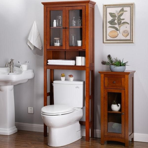 Glitzhome Drop Door Bathroom Spacesaver Floor Storage Cabinet. Opens flyout.