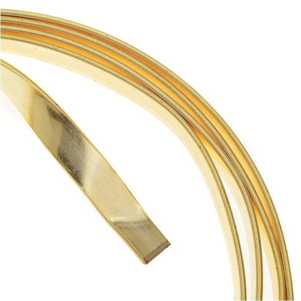 Artistic Wire, Flat Craft Wire 5mm 21 Gauge Thick, 3 Foot Coil, Gold Color