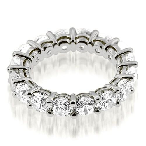 3.50 cttw. 14K White Gold Classic Basket Round Cut Diamond Eternity Band Ring