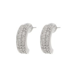 14k Gold White Diamond Half Hoop Earrings