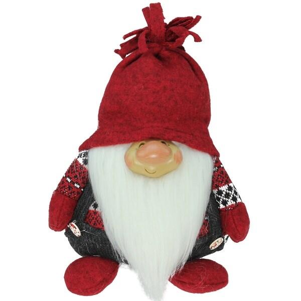 "9.5"" Charcoal Gray and Red ""Doug"" Gnome Christmas Tabletop Decoration"