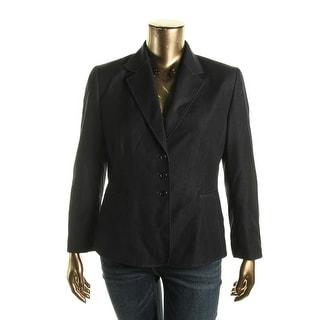 Tahari ASL Womens Petites Tracy Woven Long Sleeves Three-Button Blazer