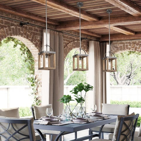 """Farmhouse 1-light Distressed Wood Island Pendant Lights for Living/ Dining Room Kitchen Islands - L6.5""""x W6""""x H 12"""""""