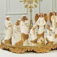 "7- Piece Nativity Ivory Gold Leaf Finish Set 7"""
