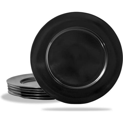 "Calypso Basics by Reston Lloyd Melamine Salad Plate, Set of 6, Black - 8 1/2""D and center of plate is 5 1/2""D"