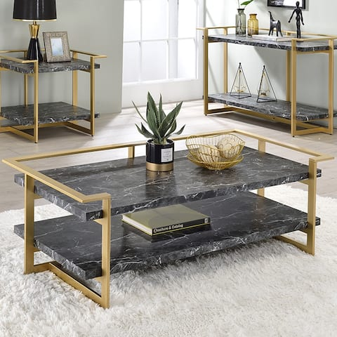Furniture of America Lovell Gold & Black Faux Marble Coffee Table