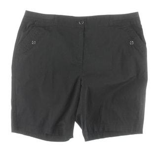Karen Scott Womens Plus Bermuda Shorts Twill Flat Front - Deep Black
