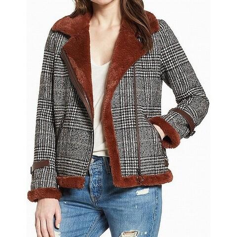 AVEC LES FILLES Brown Faux-Fur Women's Size XS Plaid Moto-Zip Coat