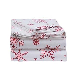 Sleepworld Internationalenviohome Heavyweight Cotton Flannel Bed Sheet Set Twin Xl Snowflakes Red Dailymail