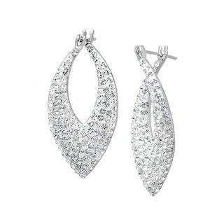 Pointed Hoop Earrings with Swarovski Crystal in Sterling Silver - White