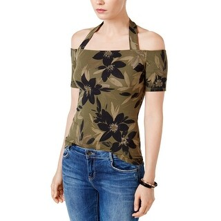 GUESS Frida Off The Shoulder Printed Halter Top Camouflora Olive Night - XL