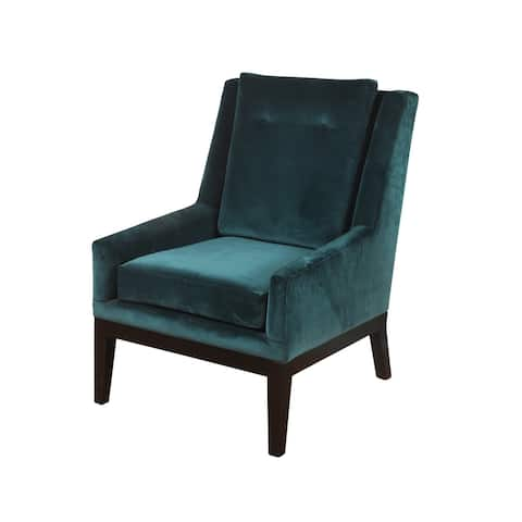 StyleCraft Silk Road Semi-Attached Back Teal Blue Chenille Lounge Chair - Dark Espresso Brown Legs