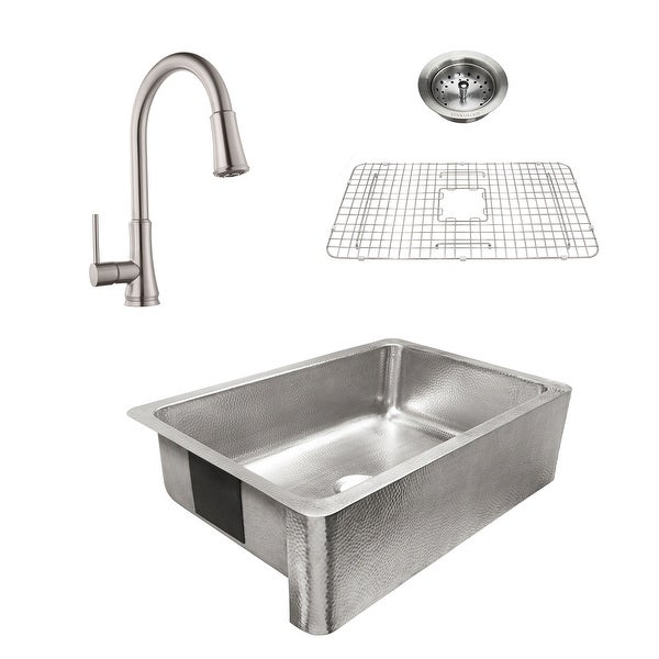Percy Apron-Front Brushed Stainless Steel 32 in. Single Bowl Kitchen Sink with Pfister Pfirst Faucet All-in-One Kit. Opens flyout.