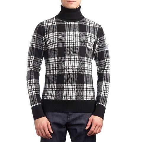 Moncler Men's Virgin Wool Plaid Turtleneck Sweater Black