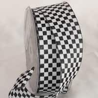 "Black and White Checkers Wired Craft Ribbon 1.5"" x 54 Yards"