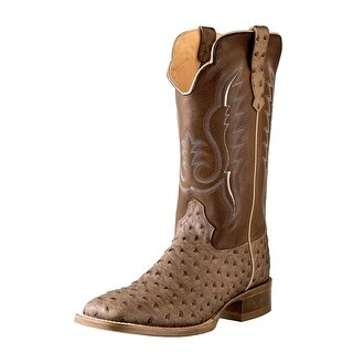 Outlaw Western Boots Mens Square Ostrich Print Antique Saddle