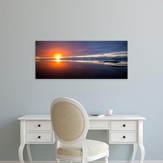 Easy Art Prints Panoramic Images's 'Sunset over the sea, Hornafjordur, Iceland' Premium Canvas Art