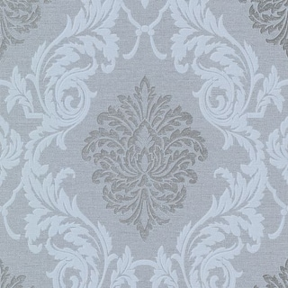 Brewster 495-69043 Rennie Grey Damask Wallpaper