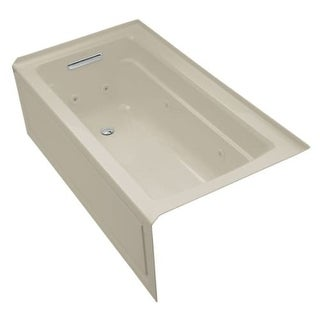 "Kohler K-1122-LA Archer Collection 60"" Three Wall Alcove Jetted Whirlpool Bath Tub with Left Side Drain"