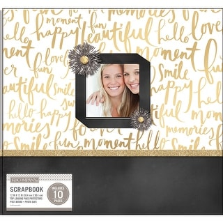 "K&Company Patterned Post Bound Window Album 12""X12""-Gold Brushed Sentiments"