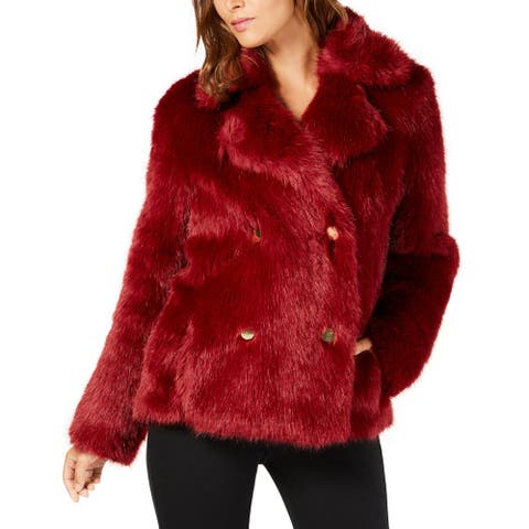 MICHAEL Michael Kors Womens Faux Fur Jacket Winter Double-Breasted