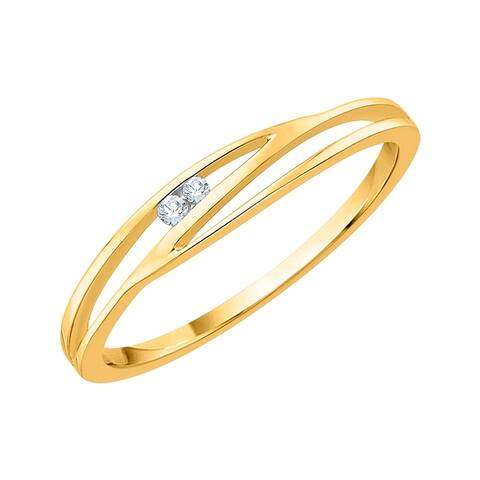 10K Yellow Gold Diamond Accent Solitaire Ring