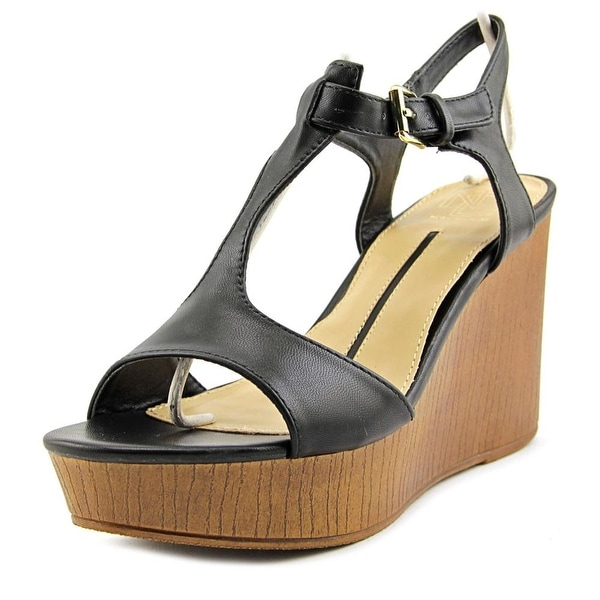 New Directions Aerial Women Open Toe Synthetic Black Wedge Sandal