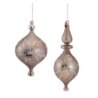 Pack of 12 Bronze Pewter Glittered Mistletoe Glass Finial Christmas Ornaments