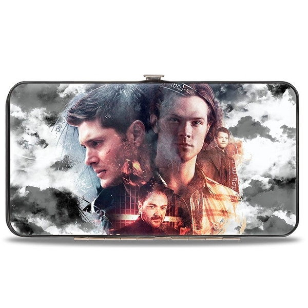 Supernatural 4 Character Collage + Logo Clouds Grays Sepia Hinged Wallet - One Size Fits most