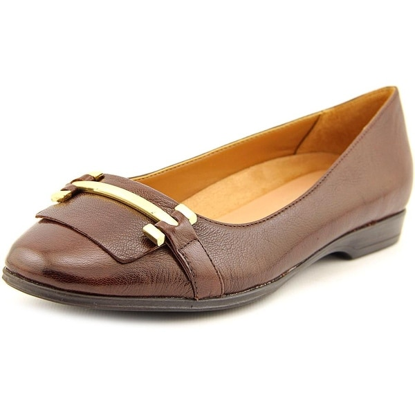Naturalizer Joyce Women WW Round Toe Leather Brown Flats