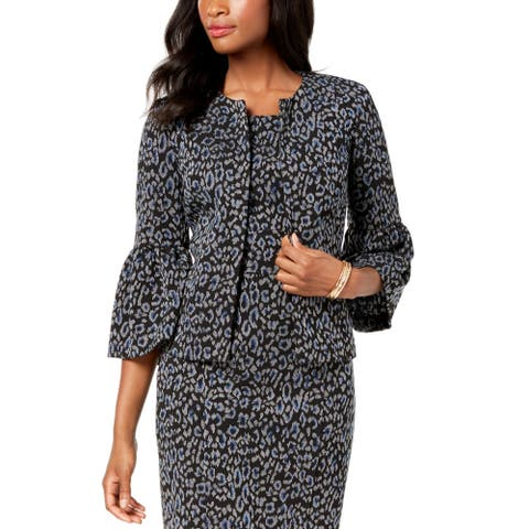 Kasper Womens Blazer Jacket Black Size 14 Printed Bell Sleeve Flyaway