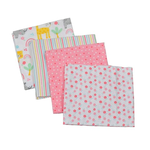 Oussum Infant 4-Pack Flannel Receiving Blankets Unisex Baby Cotton Blanket Perfect Baby Accessory New Baby Gift Girl and Boy